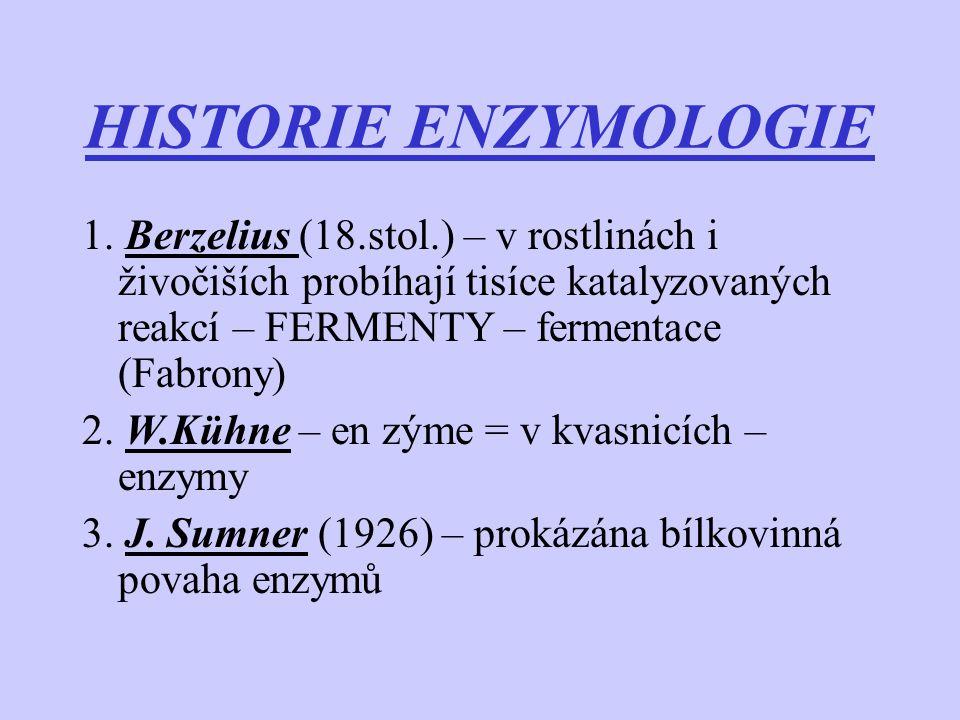 HISTORIE Katalytický účinek enzymů: a) teorie komplementarity – E.