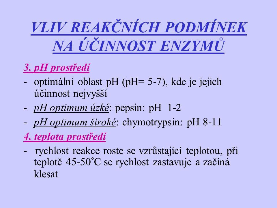 VLIV REAKČNÍCH PODMÍNEK NA ÚČINNOST ENZYMŮ 3. pH prostředí -optimální oblast pH (pH= 5-7), kde je jejich účinnost nejvyšší -pH optimum úzké: pepsin: p