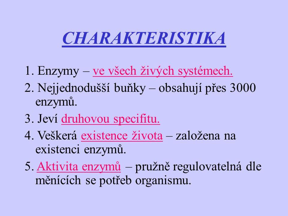 CHARAKTERISTIKA 1. Enzymy – ve všech živých systémech. 2. Nejjednodušší buňky – obsahují přes 3000 enzymů. 3. Jeví druhovou specifitu. 4. Veškerá exis