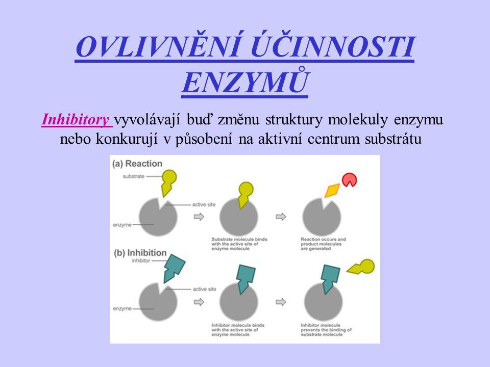 OVLIVNĚNÍ ÚČINNOSTI ENZYMŮ Inhibitory vyvolávají buď změnu struktury molekuly enzymu nebo konkurují v působení na aktivní centrum substrátu
