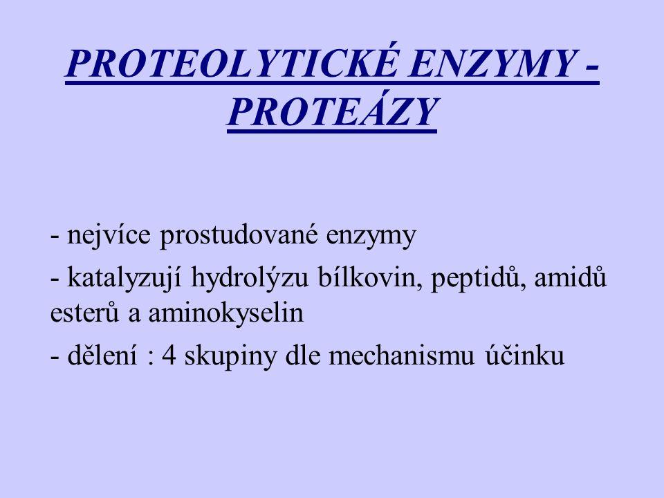 PROTEOLYTICKÉ ENZYMY - PROTEÁZY - nejvíce prostudované enzymy - katalyzují hydrolýzu bílkovin, peptidů, amidů esterů a aminokyselin - dělení : 4 skupi