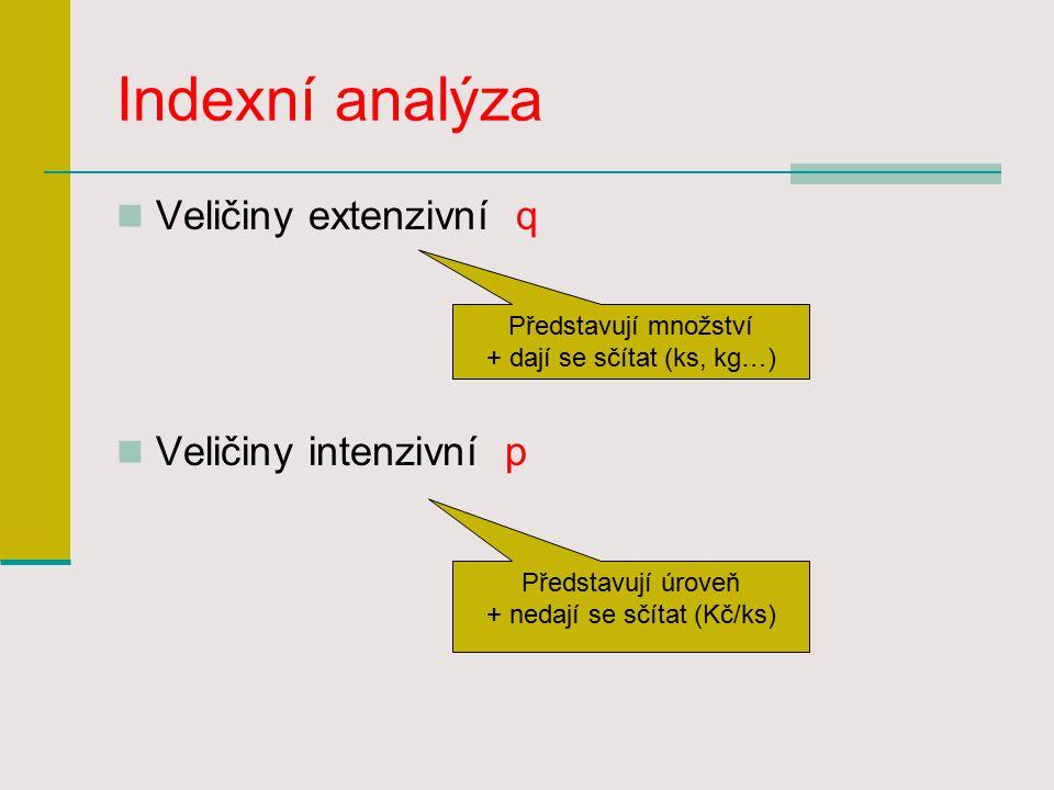 Indexní analýza Veličiny extenzivní q Veličiny intenzivní p Představují množství + dají se sčítat (ks, kg…) Představují úroveň + nedají se sčítat (Kč/ks)