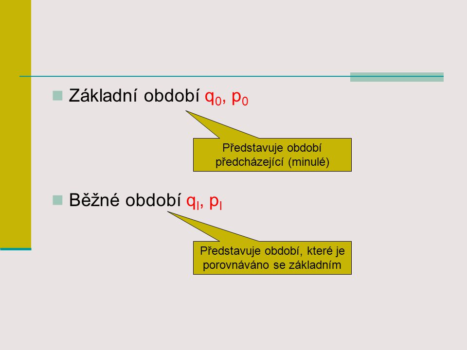 Základní období q 0, p 0 Běžné období q l, p l Představuje období, které je porovnáváno se základním Představuje období předcházející (minulé)