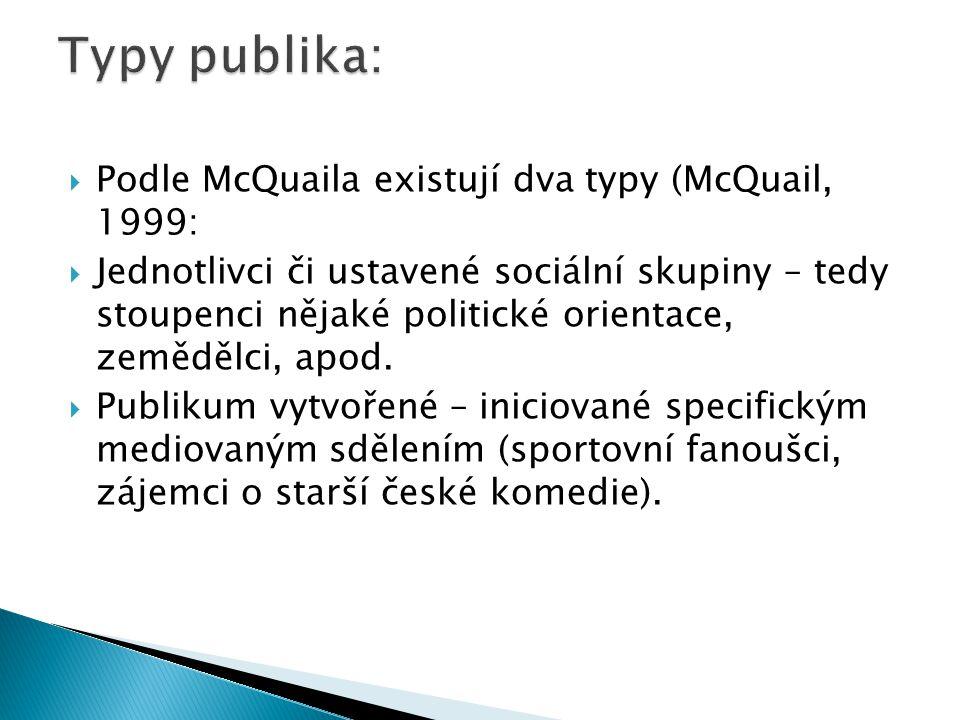  Podle McQuaila existují dva typy (McQuail, 1999:  Jednotlivci či ustavené sociální skupiny – tedy stoupenci nějaké politické orientace, zemědělci,