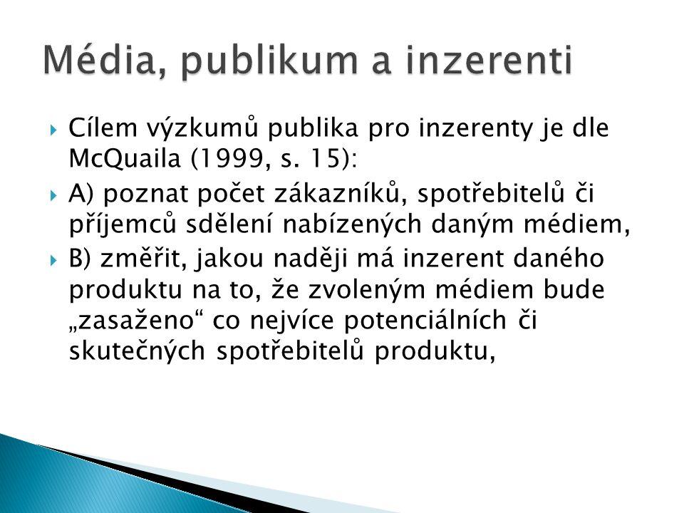  Cílem výzkumů publika pro inzerenty je dle McQuaila (1999, s. 15):  A) poznat počet zákazníků, spotřebitelů či příjemců sdělení nabízených daným mé