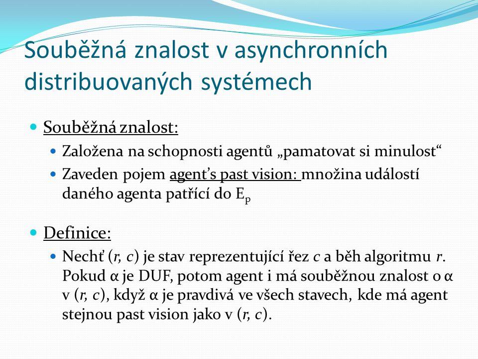 """Souběžná znalost v asynchronních distribuovaných systémech Souběžná znalost: Založena na schopnosti agentů """"pamatovat si minulost Zaveden pojem agent's past vision: množina událostí daného agenta patřící do E p Definice: Nechť (r, c) je stav reprezentující řez c a běh algoritmu r."""
