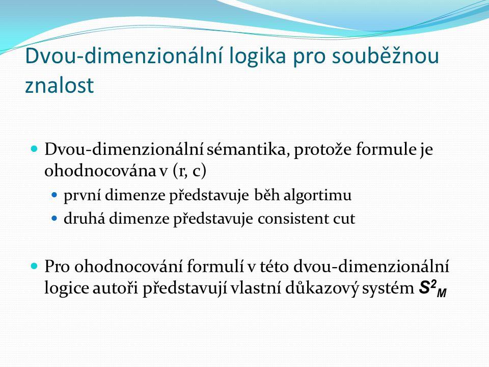 Dvou-dimenzionální logika pro souběžnou znalost Dvou-dimenzionální sémantika, protože formule je ohodnocována v (r, c) první dimenze představuje běh algortimu druhá dimenze představuje consistent cut Pro ohodnocování formulí v této dvou-dimenzionální logice autoři představují vlastní důkazový systém S 2 M