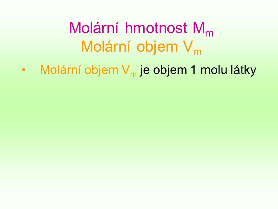 Molární hmotnost M m Molární objem V m Molární objem V m je objem 1 molu látky
