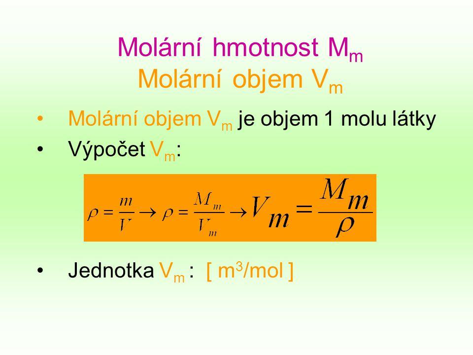 Molární hmotnost M m Molární objem V m Molární objem V m je objem 1 molu látky Výpočet V m : Jednotka V m : [ m 3 /mol ]
