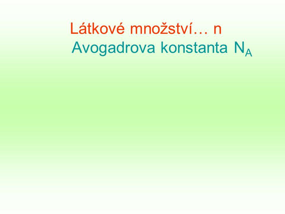 Látkové množství… n Avogadrova konstanta N A