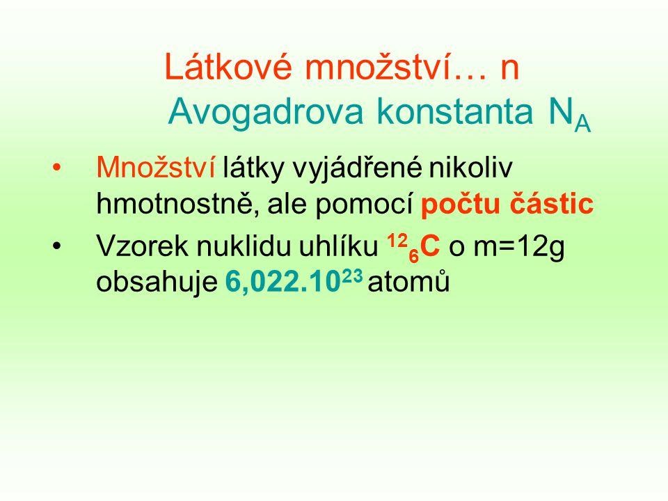 Látkové množství… n Avogadrova konstanta N A Množství látky vyjádřené nikoliv hmotnostně, ale pomocí počtu částic Vzorek nuklidu uhlíku 12 6 C o m=12g obsahuje 6,022.10 23 atomů
