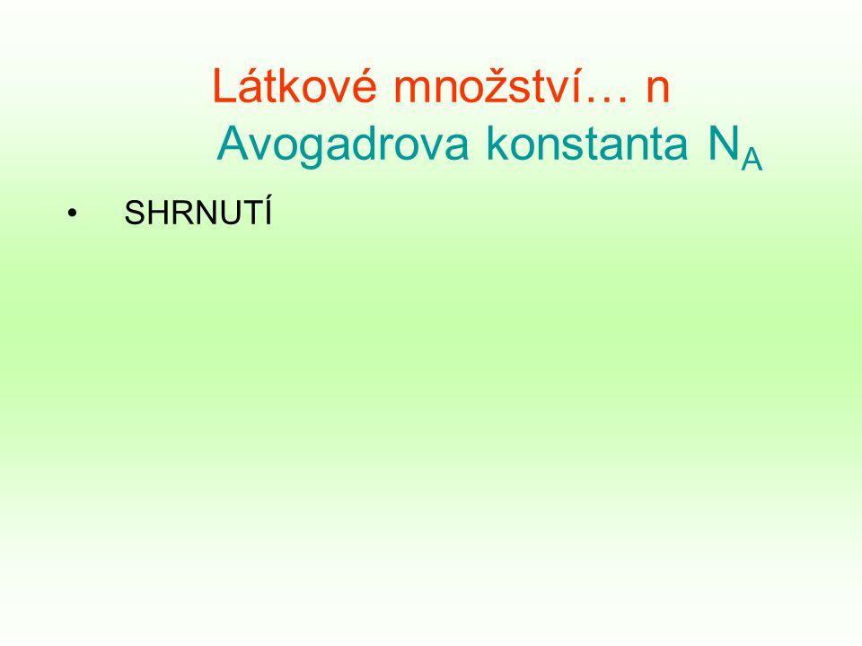 Látkové množství… n Avogadrova konstanta N A SHRNUTÍ