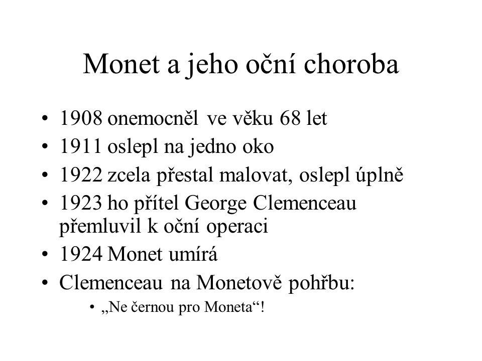 """Monet a jeho oční choroba 1908 onemocněl ve věku 68 let 1911 oslepl na jedno oko 1922 zcela přestal malovat, oslepl úplně 1923 ho přítel George Clemenceau přemluvil k oční operaci 1924 Monet umírá Clemenceau na Monetově pohřbu: """"Ne černou pro Moneta !"""