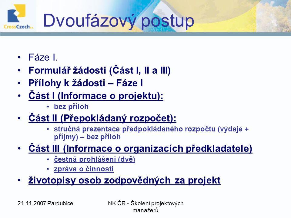 21.11.2007 PardubiceNK ČR - Školení projektových manažerů Dvoufázový postup Fáze I.