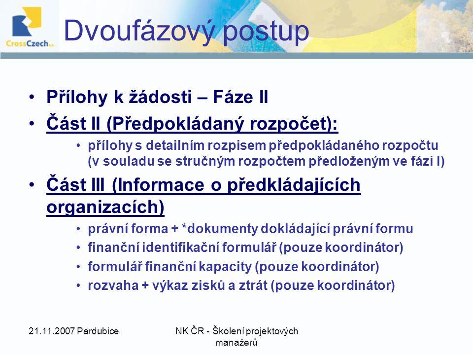 21.11.2007 PardubiceNK ČR - Školení projektových manažerů Přílohy k žádosti – Fáze II Část II (Předpokládaný rozpočet): přílohy s detailním rozpisem předpokládaného rozpočtu (v souladu se stručným rozpočtem předloženým ve fázi I) Část III (Informace o předkládajících organizacích) právní forma + *dokumenty dokládající právní formu finanční identifikační formulář (pouze koordinátor) formulář finanční kapacity (pouze koordinátor) rozvaha + výkaz zisků a ztrát (pouze koordinátor) Dvoufázový postup