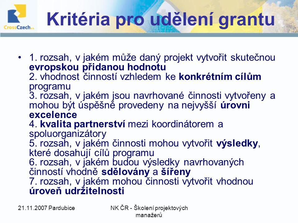 21.11.2007 PardubiceNK ČR - Školení projektových manažerů Kritéria pro udělení grantu 1.
