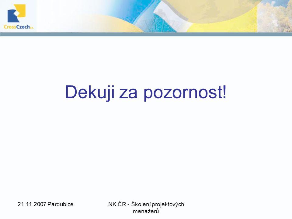 21.11.2007 PardubiceNK ČR - Školení projektových manažerů Dekuji za pozornost!