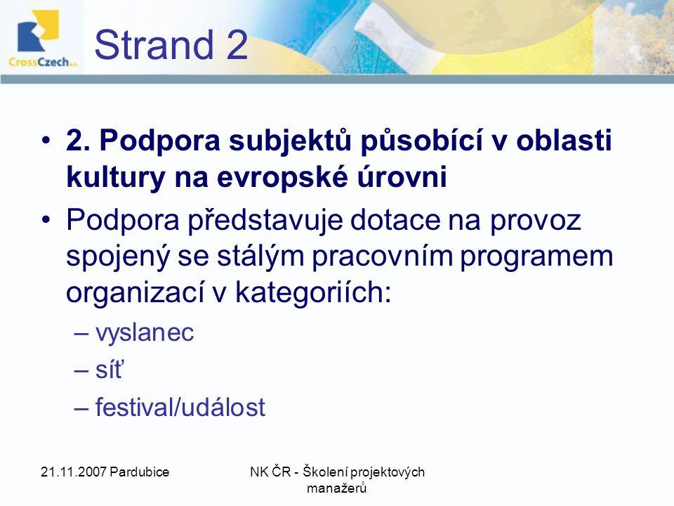 21.11.2007 PardubiceNK ČR - Školení projektových manažerů Strand 2 2.