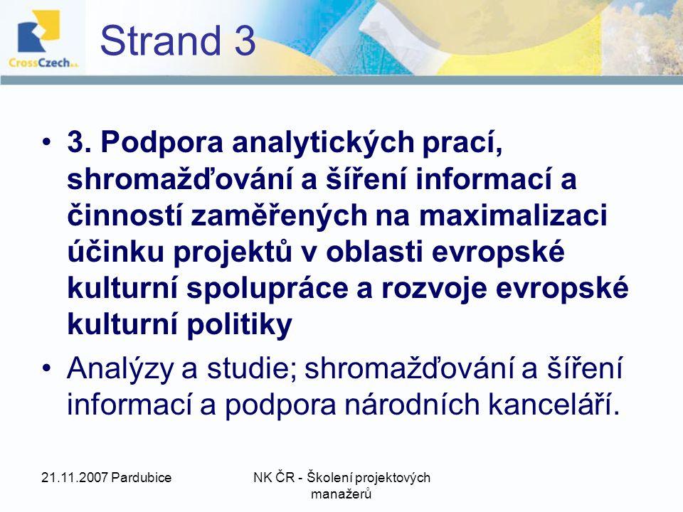 21.11.2007 PardubiceNK ČR - Školení projektových manažerů Strand 3 3.