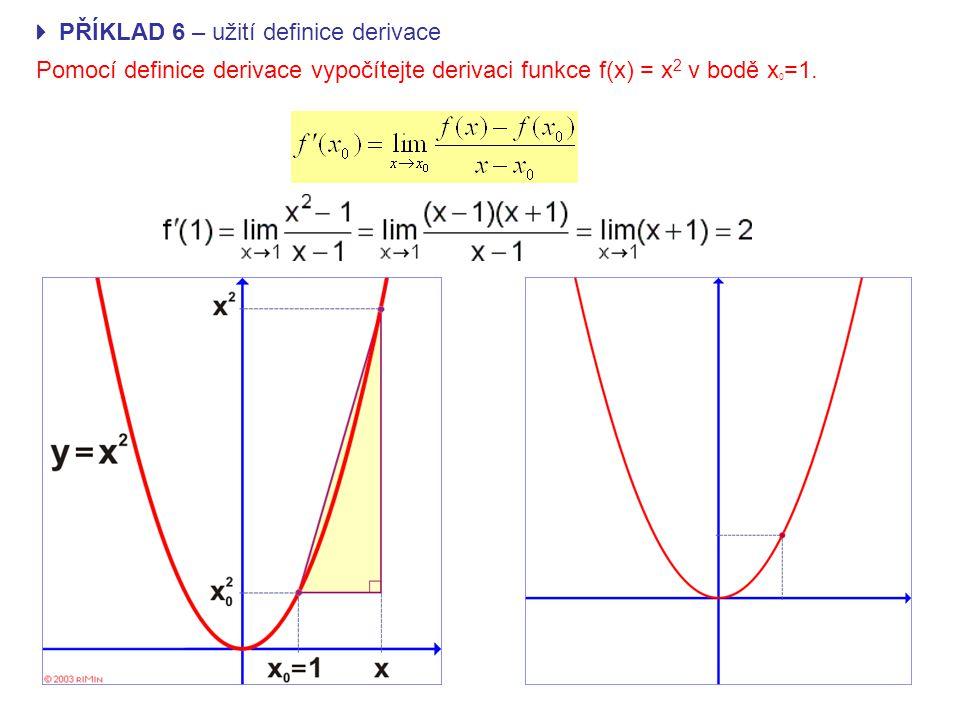  PŘÍKLAD 6 – užití definice derivace Pomocí definice derivace vypočítejte derivaci funkce f(x) = x 2 v bodě x 0 =1.