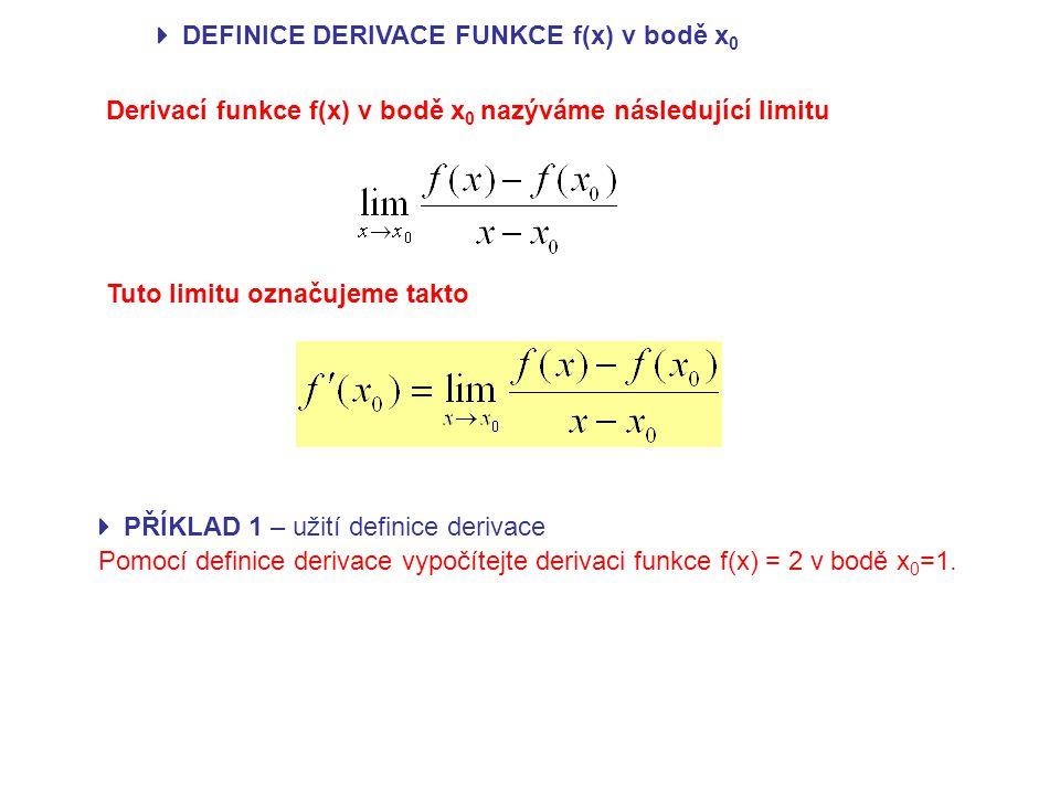  DEFINICE DERIVACE FUNKCE f(x) v bodě x 0 Derivací funkce f(x) v bodě x 0 nazýváme následující limitu Tuto limitu označujeme takto Pomocí definice derivace vypočítejte derivaci funkce f(x) = 2 v bodě x 0 =1.