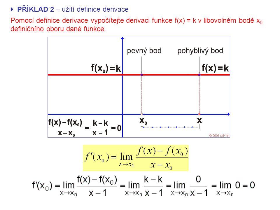  PŘÍKLAD 2 – užití definice derivace Pomocí definice derivace vypočítejte derivaci funkce f(x) = k v libovolném bodě x 0 definičního oboru dané funkce.