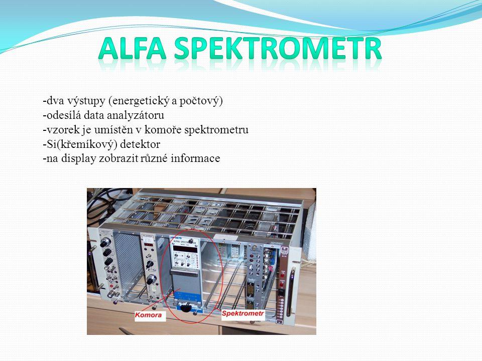 -dva výstupy (energetický a počtový) -odesílá data analyzátoru -vzorek je umístěn v komoře spektrometru -Si(křemíkový) detektor -na display zobrazit různé informace