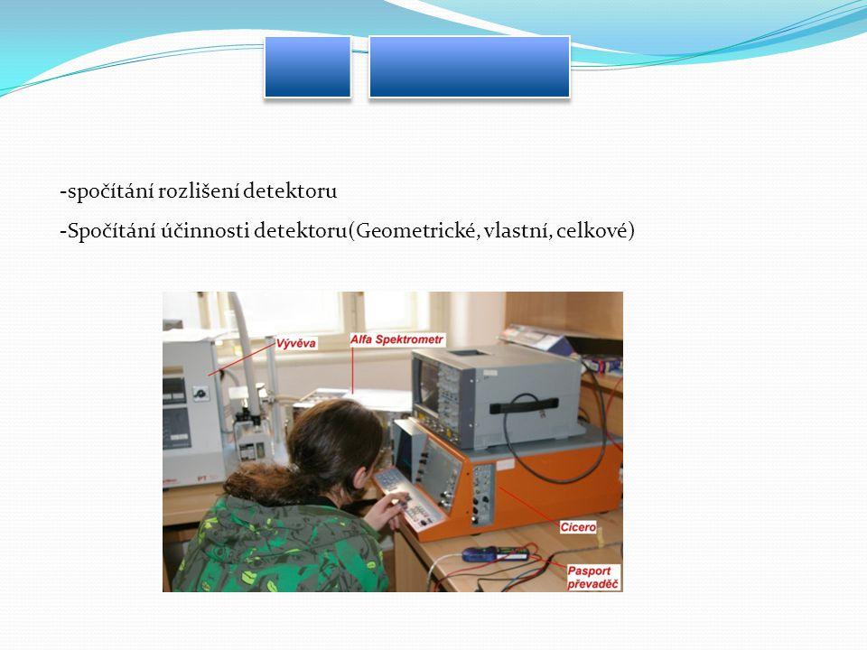 -spočítání rozlišení detektoru -Spočítání účinnosti detektoru(Geometrické, vlastní, celkové)