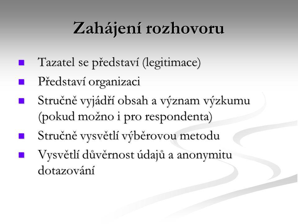 Zahájení rozhovoru Tazatel se představí (legitimace) Tazatel se představí (legitimace) Představí organizaci Představí organizaci Stručně vyjádří obsah