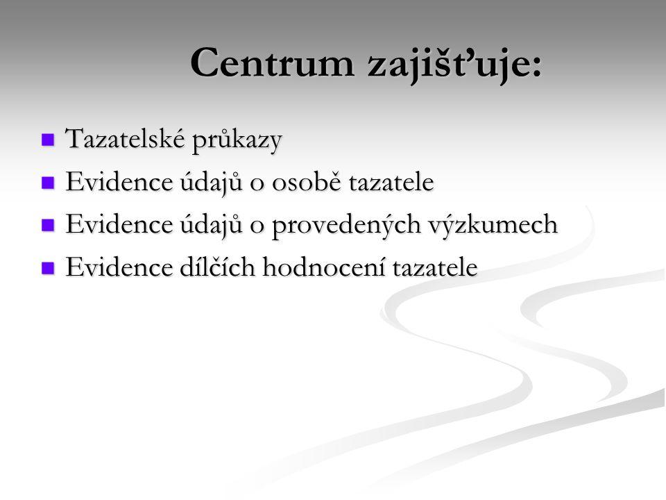 Centrum zajišťuje: Tazatelské průkazy Tazatelské průkazy Evidence údajů o osobě tazatele Evidence údajů o osobě tazatele Evidence údajů o provedených