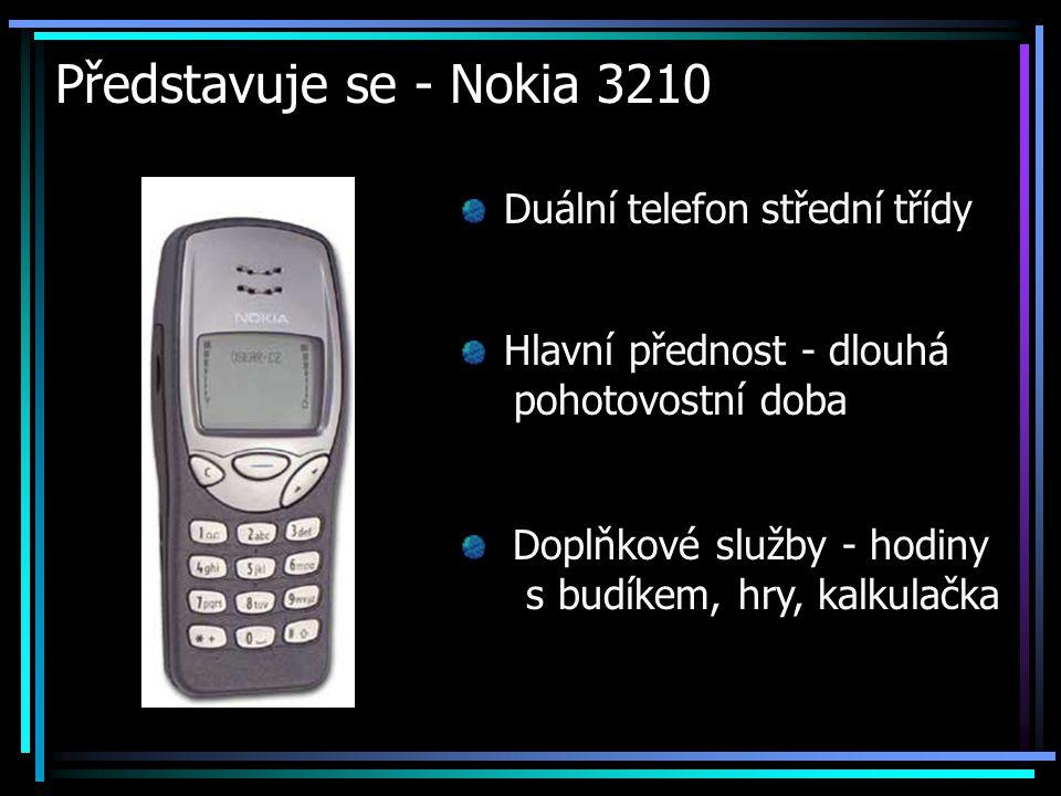 Představuje se - Nokia 3210 Duální telefon střední třídy Hlavní přednost - dlouhá pohotovostní doba Doplňkové služby - hodiny s budíkem, hry, kalkulač