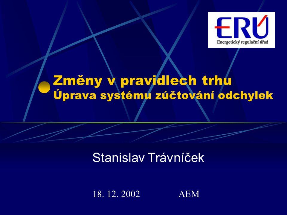 Změny v pravidlech trhu Úprava systému zúčtování odchylek Stanislav Trávníček 18. 12. 2002 AEM