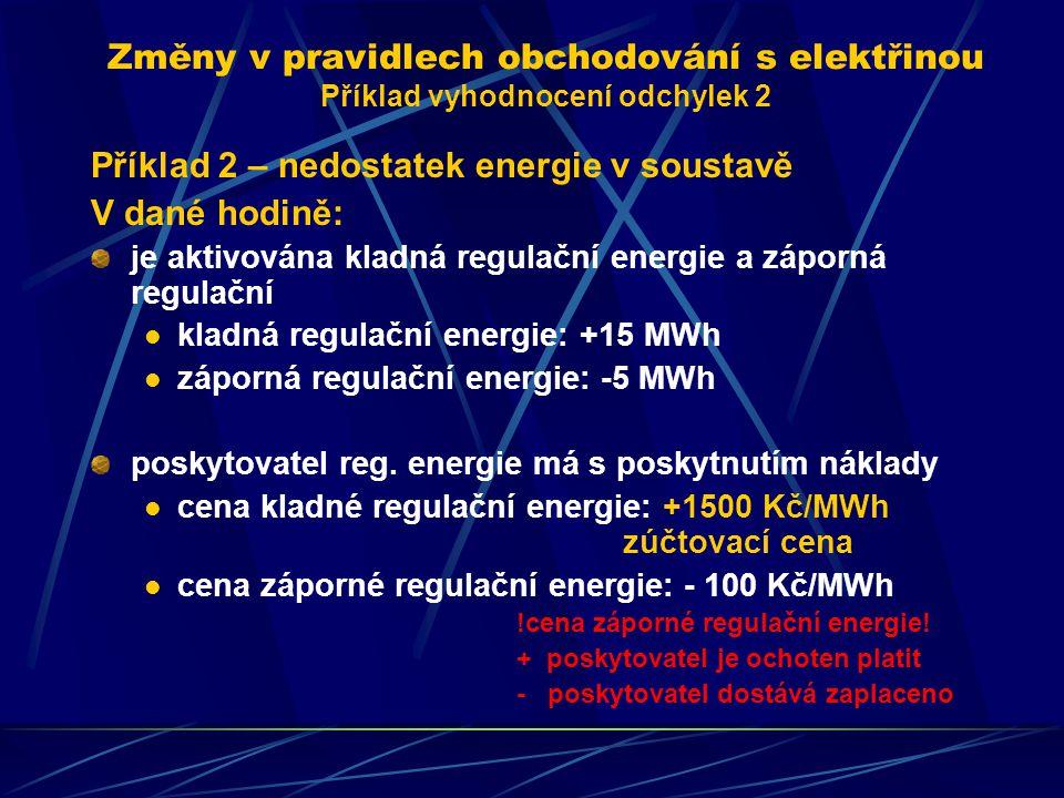 Změny v pravidlech obchodování s elektřinou Příklad vyhodnocení odchylek 2 Příklad 2 – nedostatek energie v soustavě V dané hodině: je aktivována kladná regulační energie a záporná regulační kladná regulační energie: +15 MWh záporná regulační energie: -5 MWh poskytovatel reg.