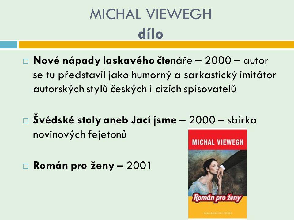 MICHAL VIEWEGH dílo  Nové nápady laskavého čtenáře – 2000 – autor se tu představil jako humorný a sarkastický imitátor autorských stylů českých i ciz
