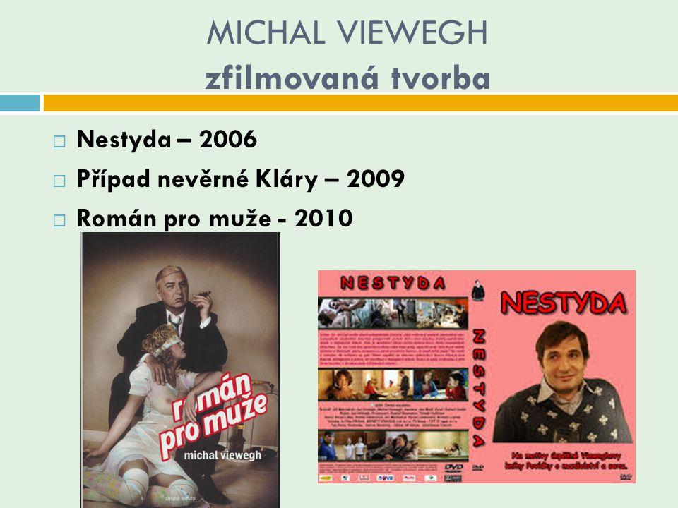 MICHAL VIEWEGH zfilmovaná tvorba  Nestyda – 2006  Případ nevěrné Kláry – 2009  Román pro muže - 2010