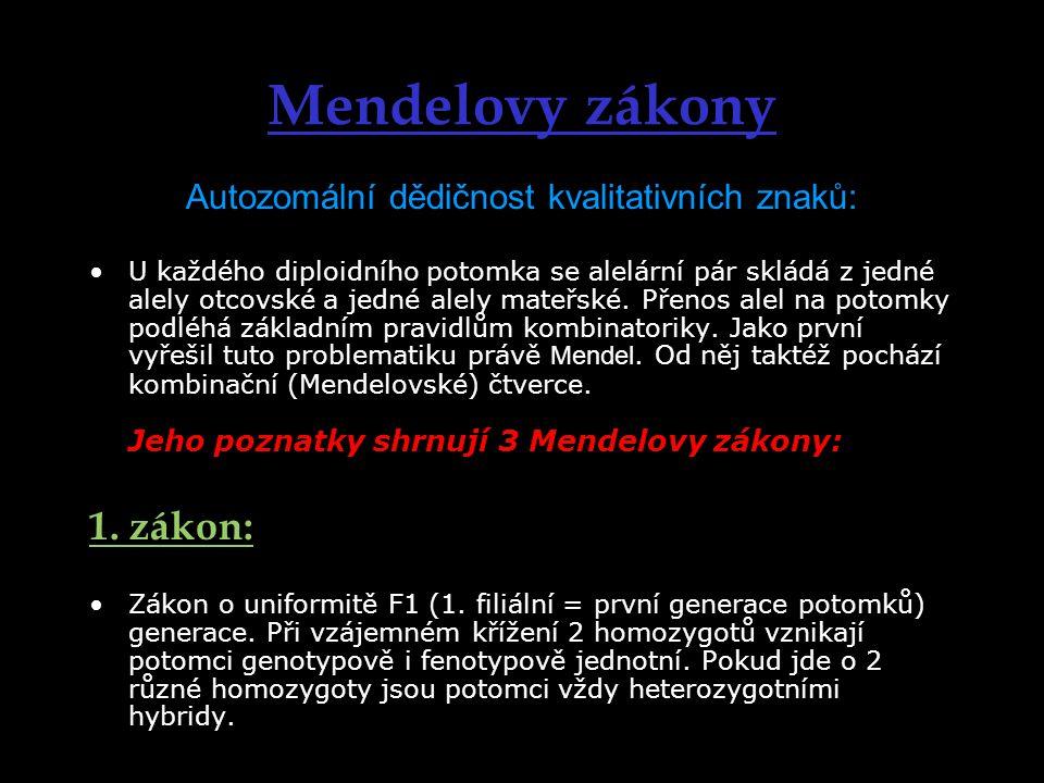 Mendelovy zákony Autozomální dědičnost kvalitativních znaků: U každého diploidního potomka se alelární pár skládá z jedné alely otcovské a jedné alely mateřské.
