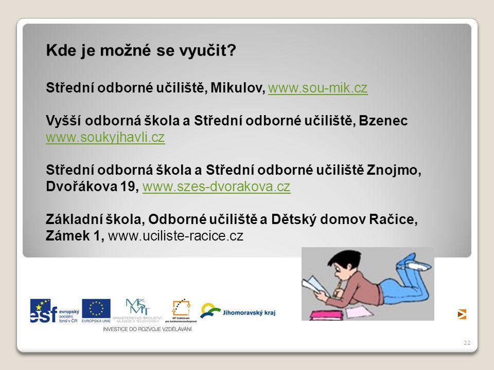 22 Kde je možné se vyučit? Střední odborné učiliště, Mikulov, www.sou-mik.czwww.sou-mik.cz Vyšší odborná škola a Střední odborné učiliště, Bzenec www.