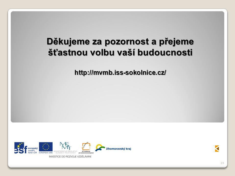 23 Děkujeme za pozornost a přejeme šťastnou volbu vaší budoucnosti http://mvmb.iss-sokolnice.cz/