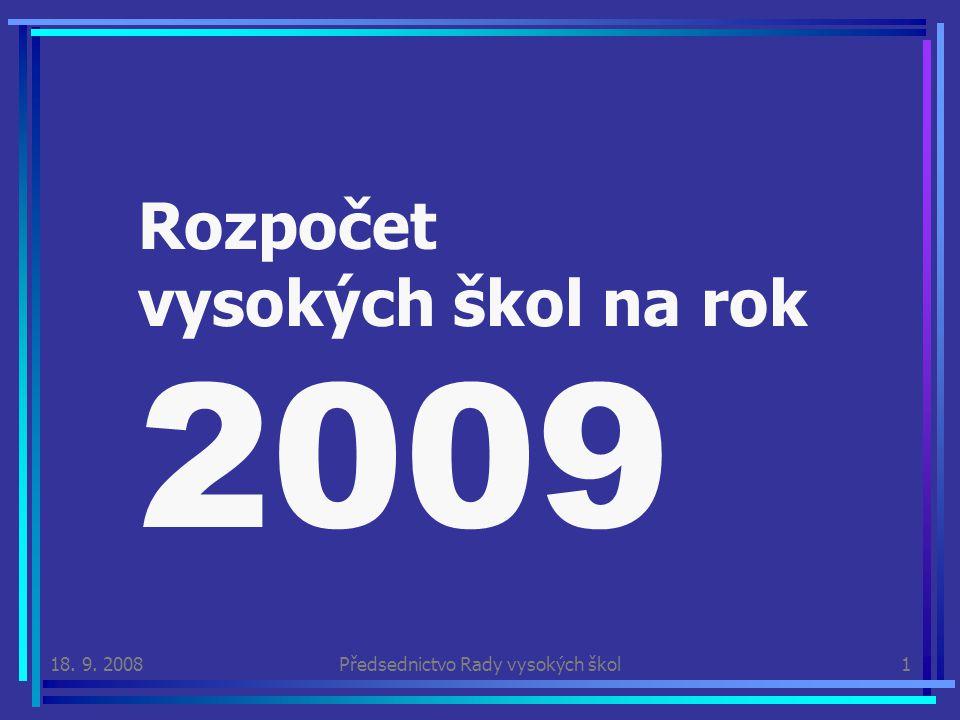 18. 9. 2008Předsednictvo Rady vysokých škol1 Rozpočet vysokých škol na rok 2009