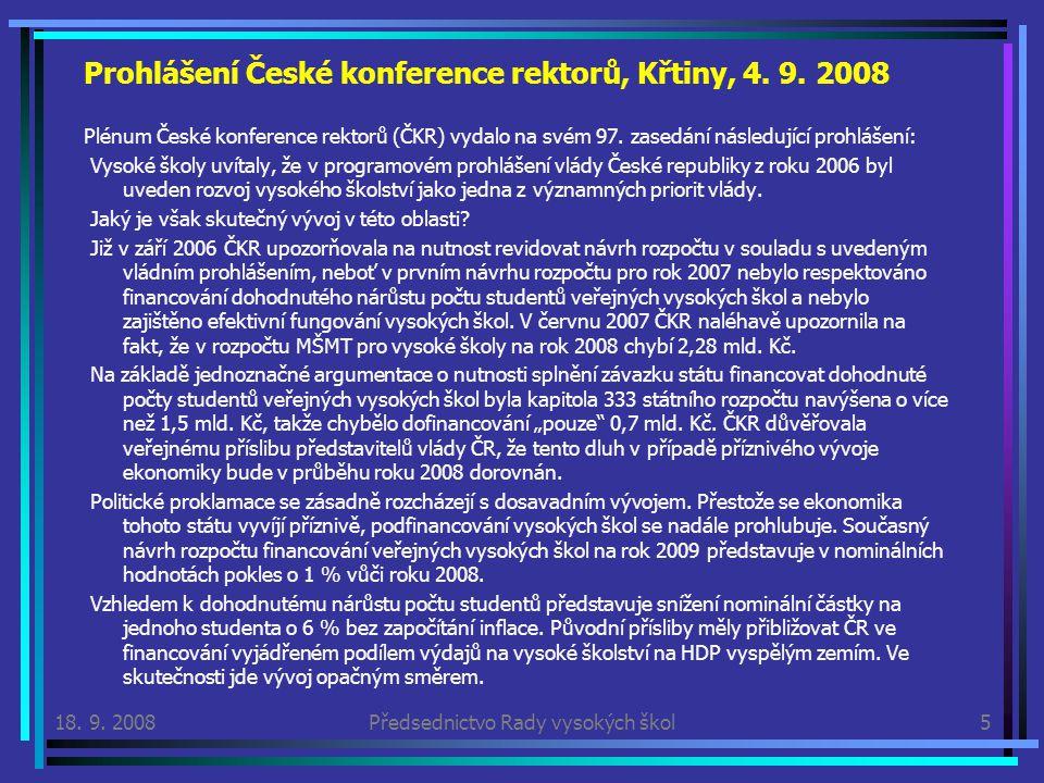 Prohlášení České konference rektorů, Křtiny, 4. 9.