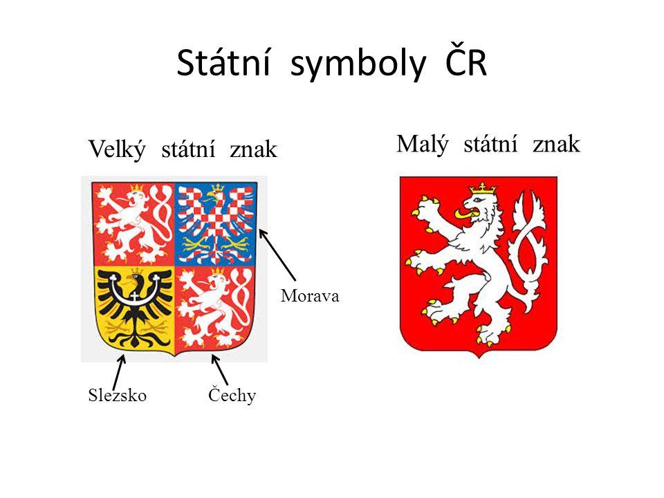 Velký státní znak Státní symboly ČR Malý státní znak Morava SlezskoČechy