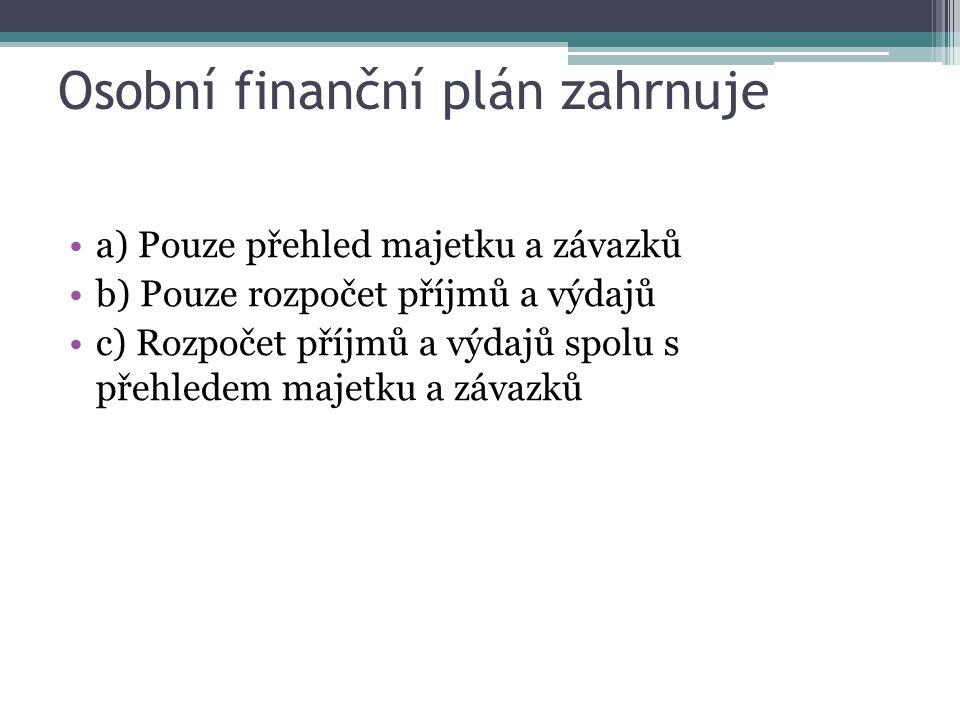 Sestavením dobrého finančního plánu nalezneme možnosti jak a) Získat úvěr od banky b) Financovat své cíle a minimalizovat rizika c) Jak si zajistit vyšší příjem