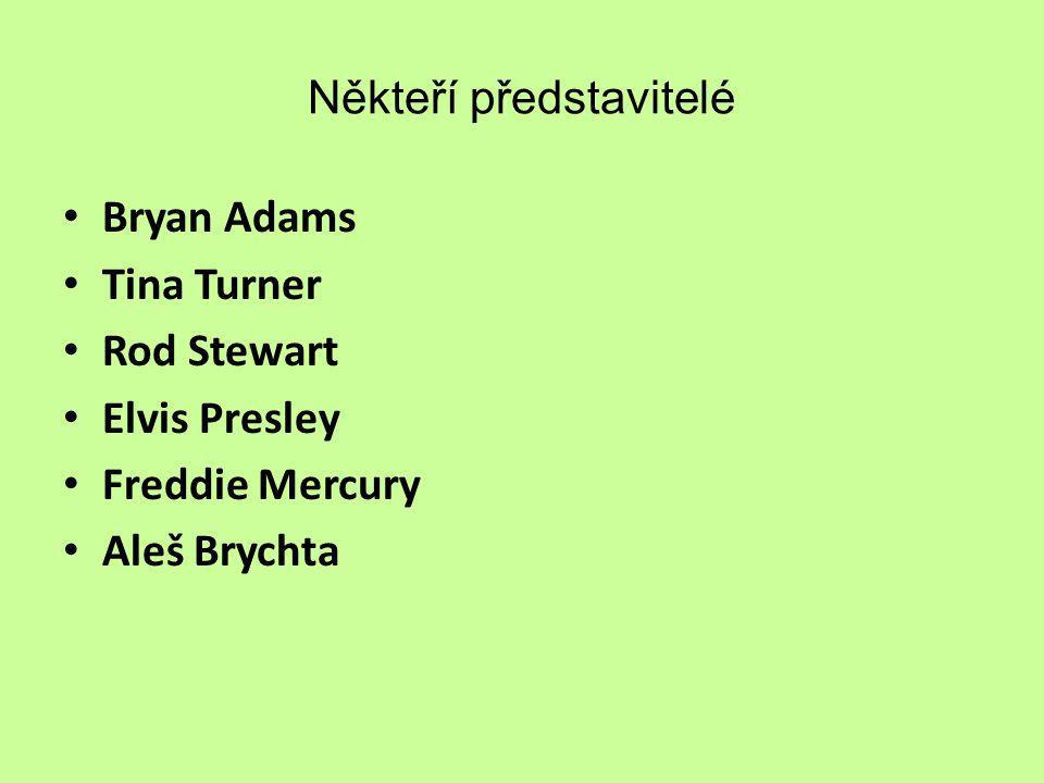Někteří představitelé Bryan Adams Tina Turner Rod Stewart Elvis Presley Freddie Mercury Aleš Brychta