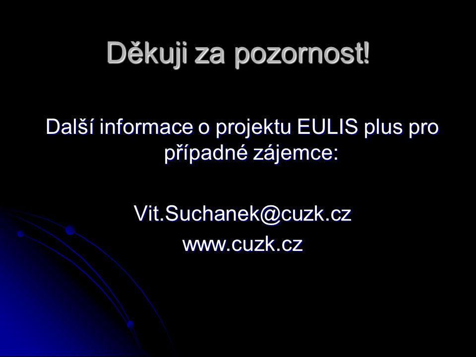 Děkuji za pozornost! Další informace o projektu EULIS plus pro případné zájemce: Vit.Suchanek@cuzk.czwww.cuzk.cz