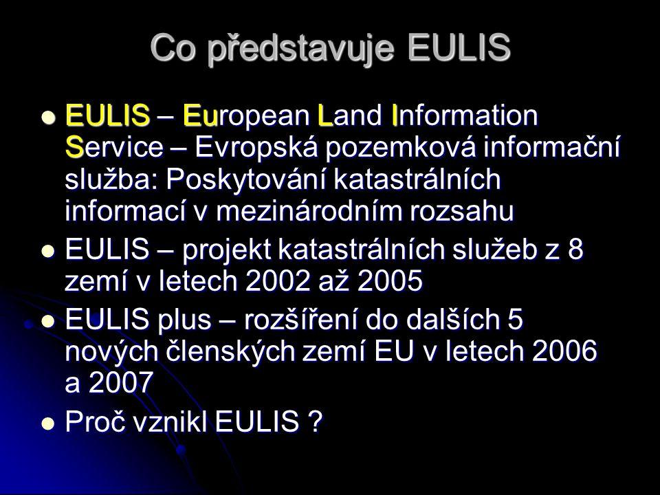 Co představuje EULIS EULIS – European Land Information Service – Evropská pozemková informační služba: Poskytování katastrálních informací v mezinárodním rozsahu EULIS – European Land Information Service – Evropská pozemková informační služba: Poskytování katastrálních informací v mezinárodním rozsahu EULIS – projekt katastrálních služeb z 8 zemí v letech 2002 až 2005 EULIS – projekt katastrálních služeb z 8 zemí v letech 2002 až 2005 EULIS plus – rozšíření do dalších 5 nových členských zemí EU v letech 2006 a 2007 EULIS plus – rozšíření do dalších 5 nových členských zemí EU v letech 2006 a 2007 Proč vznikl EULIS .