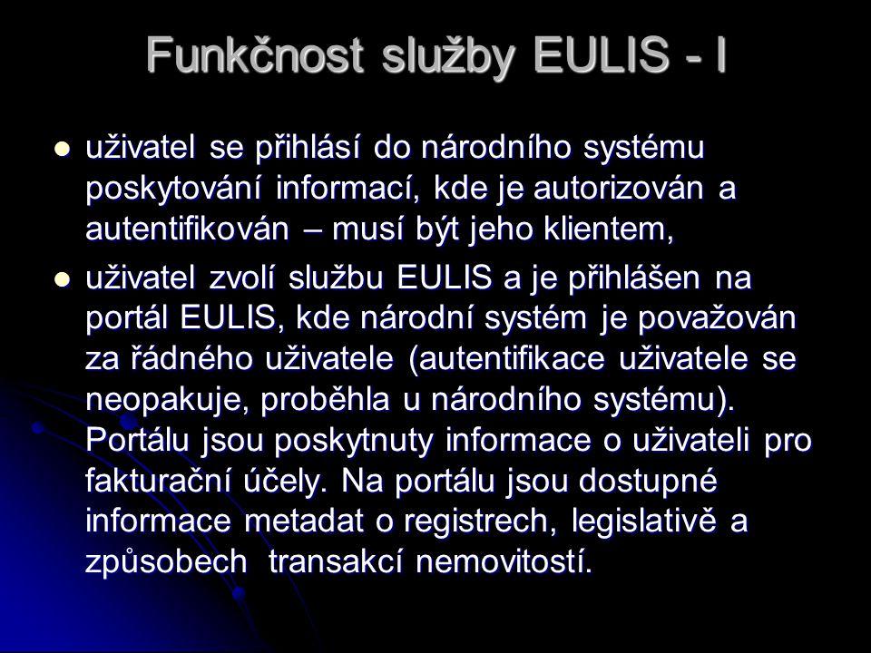 Funkčnost služby EULIS - I uživatel se přihlásí do národního systému poskytování informací, kde je autorizován a autentifikován – musí být jeho klientem, uživatel se přihlásí do národního systému poskytování informací, kde je autorizován a autentifikován – musí být jeho klientem, uživatel zvolí službu EULIS a je přihlášen na portál EULIS, kde národní systém je považován za řádného uživatele (autentifikace uživatele se neopakuje, proběhla u národního systému).