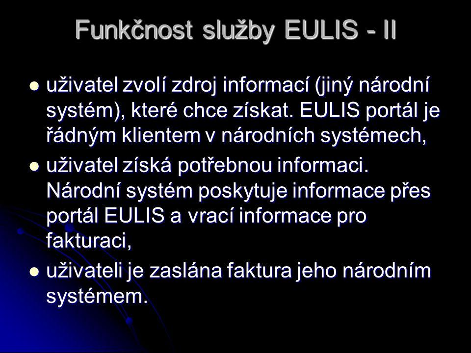Funkčnost služby EULIS - II uživatel zvolí zdroj informací (jiný národní systém), které chce získat. EULIS portál je řádným klientem v národních systé