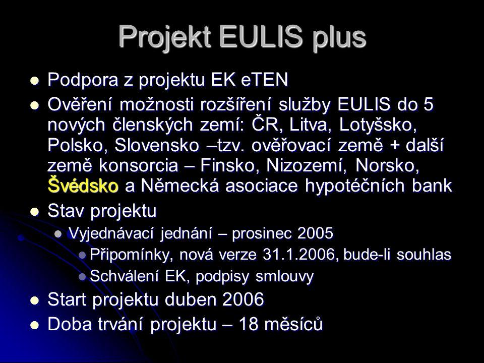 Projekt EULIS plus Podpora z projektu EK eTEN Podpora z projektu EK eTEN Ověření možnosti rozšíření služby EULIS do 5 nových členských zemí: ČR, Litva, Lotyšsko, Polsko, Slovensko –tzv.