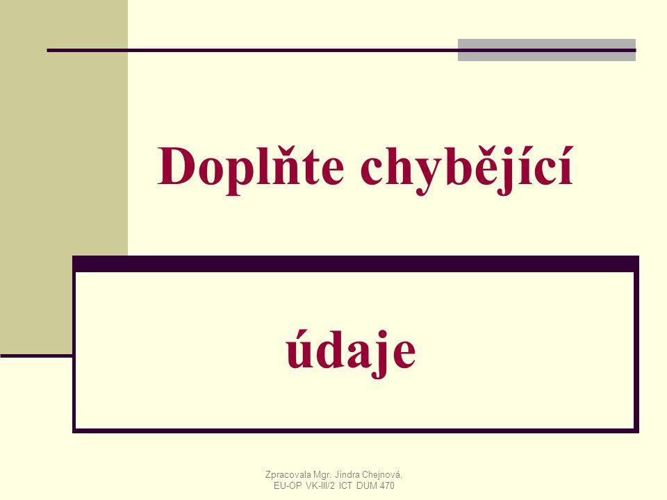 Doplňte chybějící údaje Zpracovala Mgr. Jindra Chejnová, EU-OP VK-III/2 ICT DUM 470