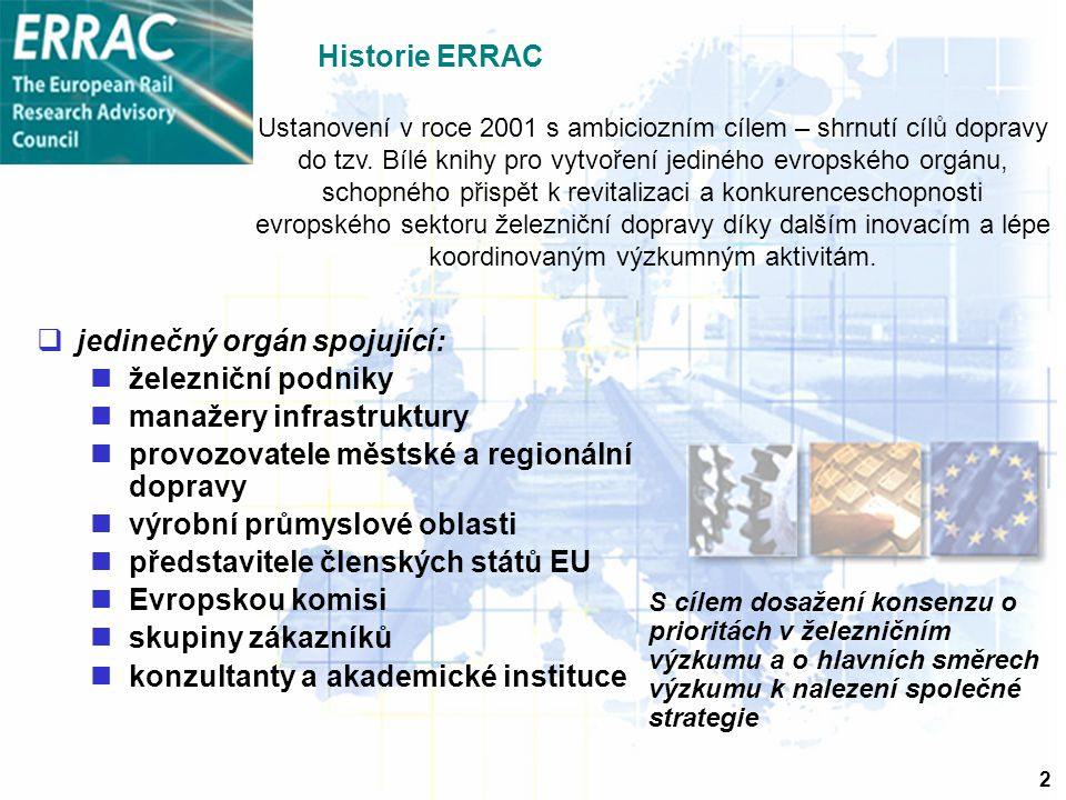 2 Historie ERRAC  jedinečný orgán spojující: železniční podniky manažery infrastruktury provozovatele městské a regionální dopravy výrobní průmyslové oblasti představitele členských států EU Evropskou komisi skupiny zákazníků konzultanty a akademické instituce S cílem dosažení konsenzu o prioritách v železničním výzkumu a o hlavních směrech výzkumu k nalezení společné strategie Ustanovení v roce 2001 s ambiciozním cílem – shrnutí cílů dopravy do tzv.